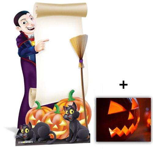 Vampir Halloween Schild Lebensgrosse Pappaufsteller mit 25cm x 20cm - Hollywood-promi-halloween-party