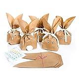 10 Stück SET kleine Ostern Geschenktüten OSTERHASE basteln natur braun 16