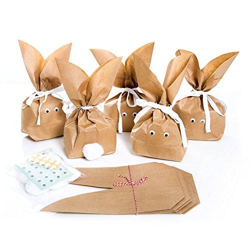 10 Stück braune natürlich lustige Osterhasen Hasen Papiertüten + weiß beige Baumwollband - Alternative zum Osternest f. Kinder + Erwachsene give-away Mitgebsel Verpackung Geschenke zu Ostern