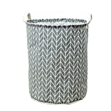 Wanshop Waterproof Canvas Laundry Fabric Folding Laundry Hamper Bucket Cylindric Burlap Canvas Storage Basket (C)
