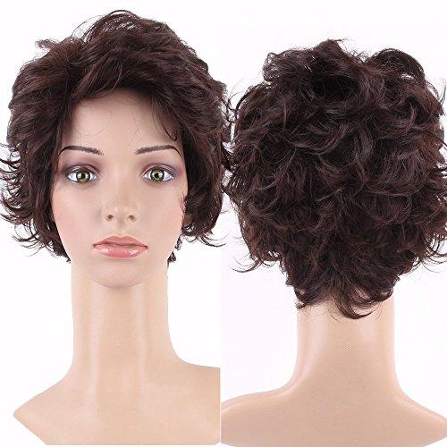 S-noilite new popular–parrucca corta, da estate stile completo ricci ondulati capelli kanekalon parrucca marrone scuro da donna
