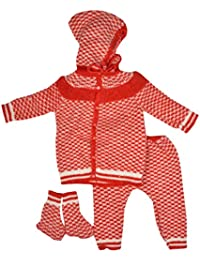 Little Bunnies Unisex Wool Clothing Set (Red, 3 - 6 Months)