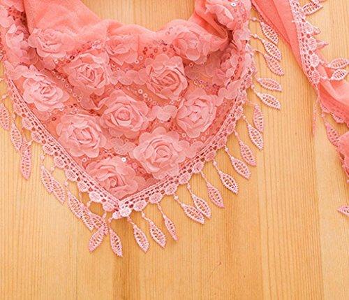 Transer ® Femelle Écharpes,Femmes Décontractée brodé cape trigonométrique écharpe bib soie floche Echarpe Rose