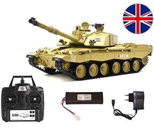 MODELTRONIC Tanque Radio Control British Challenger 2 Heng Long 3908-1 / Nueva emisora 2.4G v5.3 / batería Litio / con Sonido, Bolas 6mm Airsoft y expulsa Humo / Tanque teledirigido