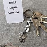 Schlüsselanhänger, Taschenbaumler, Kettenschmeichler, Edelstein Howlith, Tatting, Occhi