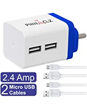 Pinnaclz Combo WC-3-WB+2 MUSB-W Micro USB Wall Charger (White-Blue)