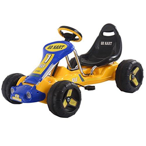 COSTWAY Gokart Go Cart Kart Tretauto Kinder Go Karts Kettcar Tretfahrzeug Robustes Kinderkart (gelb)