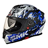 SMK MA256 Twister Attack Graphics Pinlock Fitted Full Face Helmet With Clear Visor (Matt Black, Blue and Grey, XS)
