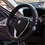 Bestmay New Fashion Top Genuine Leather Steering Wheel Cover Fit For B MW Size M 38cm