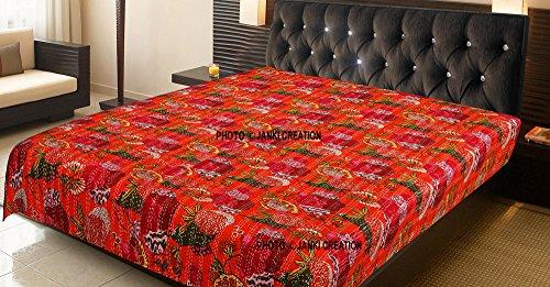 Orange Fruit Print handgefertigt kantha genäht Indien Quilt, Vintage Kantha Werfen, handgefertigt indischen ländlichen reine Baumwolle Vintage Floral Print Doppelbett Spread Gudri -
