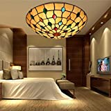 Tiffany Modern Zeitgenössisch Deckenleuchte Kreativ Eisen Glas Lampenschirm 3-Flammig Rund Kunst Deckenlampe Wohnzimmer Esszimmer Schlafzimmer Landhausstil Deckenbeleuchtung E27 Max.60W Ø40cm * H16cm