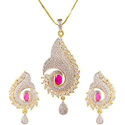 Bling N Beads American Diamond Classic Pendant Set with earrings and 18K Gold plated Chain Friendship Birthday Rakhi Gift For Her