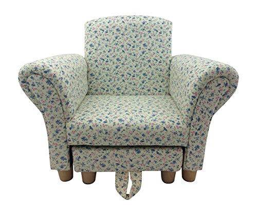 Kids Childrens Toddler Pink and Blue Flower Fabric Chair Armchair with Footstool