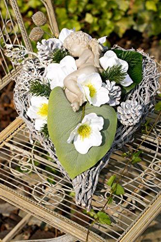 HIKO-EVENTDEKO Grabgesteck Nr.8 Herz mit Engel und ChristrosenTotensonntag, Allerheiligen, Grabschmuck, Gedenktag, Trauertage, Gesteck 25 x 35 x 20 cm