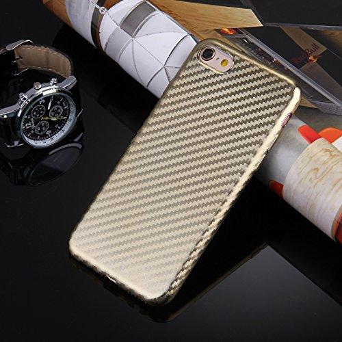 Pour iPhone 6 / 6s, Texture artistique en fibre de carbone Soft TPU Housse de protection arrière JING ( Color : Silver ) Gold