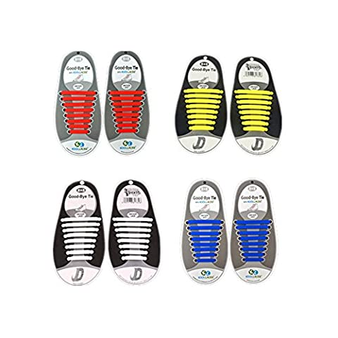 Pas de cravate lacets imperméables pour les enfants et les adultes, plat lacets en silicone élastique avec des couleurs multiples pour chaussures Sneaker Chaussures Board et souliers occasionnels (Blanc + Jaune + Rouge + Bleu)