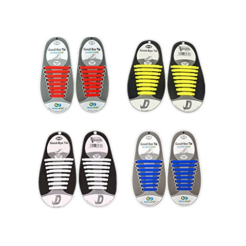 No Tie Waterproof Shoelaces for Kids and Adults, Flat Elastic Silicone Shoe Laces with Multiple colors for Sneaker Boots Board Shoes and Casual Shoes (White + Yellow + Red + (Kids Go Go Stiefel)
