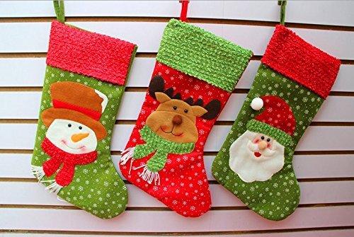 AUSVERKAUF–Set von 3Classic Weihnachten 3D groß Strümpfe 45,7cm niedliche Santa 's Toys Geschenk Strümpfe–Santa & Schneemann und Rentier (groß)