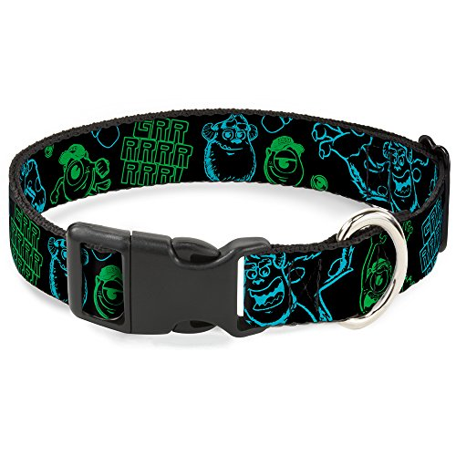 buckle-down-monsters-inc-sully-mike-poses-grrrrr-black-turquoise-green-plastic-clip-collar-small-9-1