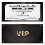 (20 x) Hochzeitseinladungskarten VIP Ticket Gold edel Einladungskarten Hochzeit