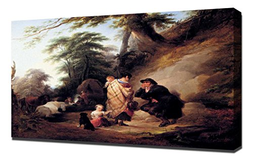 william-shayer-snr-travelers-resting-art-reproduction-on-canvas-a-high-quality-canvas-art-print