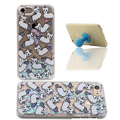 iPhone 7 Custodia Apple iPhone 7 4.7 inch Cover Cuori colorati Flusso Duro Trasparente Acqua Liquida Cartone Animato Balena Blu Modello iPhone 7 Case X 1 Silicone Titolare color-1