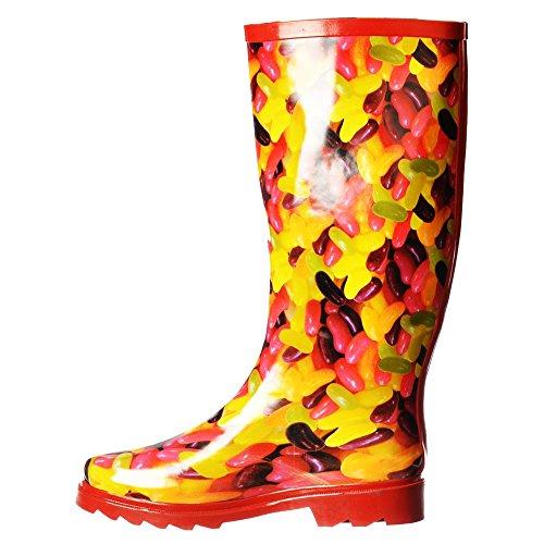 Onlineshoe Damen Regen Stiefel Gelee Bohne