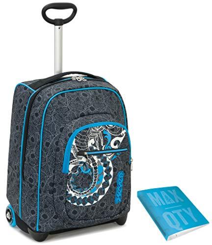TROLLEY SEVEN + Quaderno anelli MAX QTY - Colorchange - Nero Blu - 35 LT Scuola e viaggio - Crossover System