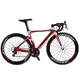 SAVADECK Rennrad, Phantom 8.0 700C Carbon Rennrad Fahrrad mit Campagnolo Chorus 22 Geschwindigkeitsgruppe Michelin 25C Reifen und Fizik Sattel (56cm, Weiß Rot)
