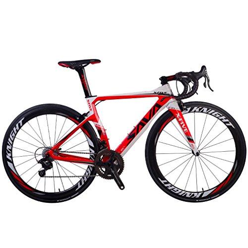 SAVADECK Phantom 8.0 700C Bicicleta de Carretera con Fibra de Carbono para Bicicletas con Campagnolo Chorus 22 Speed Groupset Michelin 25C Silla de Montar Tyco y Fizik (52cm, Blanco Rojo)
