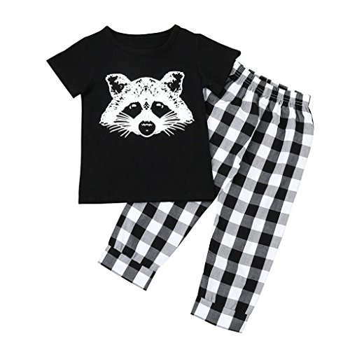 CLOOM☻Kleinkind Säuglingsbaby Mädchen Fox T-Shirt übersteigt Plaid Hosen Ausstattungs Kleidungs Satz Boy Fox Kopf Plaid gestreiften T-Shirt Anzug Netter und bequemer Anzug Jungen Mädchens (80, Lang)