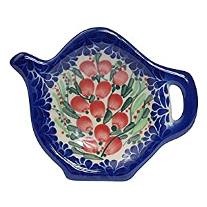 Traditional Polish Pottery, Handcrafted Ceramic Teapot-Shaped Tea Bag Tidy Holder or Spoon Rest, D.10cm, Boleslawiec Style Pattern, H.301.Cranberry