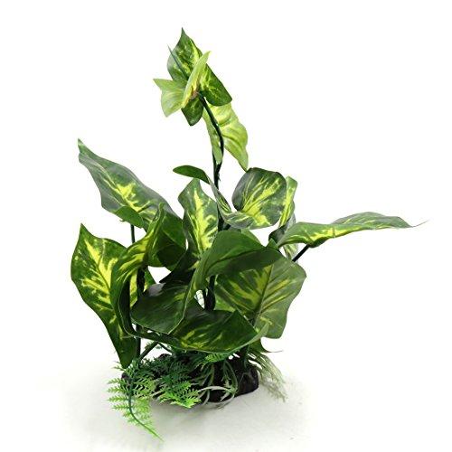 sourcing map Grün Kunststoff Terrarium Behälter Blatt Pflanzen Verzierung mit Harz Unterseite DE de