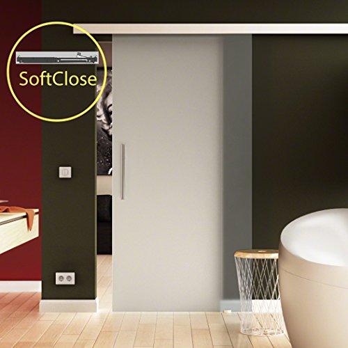 Made in Germany T/ür aus Glas Softclose 102,5x205 cm in ESG-Milchglas Levidor/® EasySlide-System komplett; Laufschiene und Stangengriffe Schiebet/ür aus Glas f/ür Innenbereich