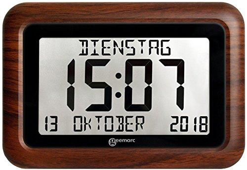 Funkuhr mit Kalender - Hilfreich für Demenz- und Alzheimer-Kranken - Geemarc VISO10 WOOD