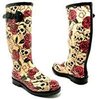 Spylovebuy Flat Festival Wellies Wellington Knee High Rain Boots Skull & Roses UK 4