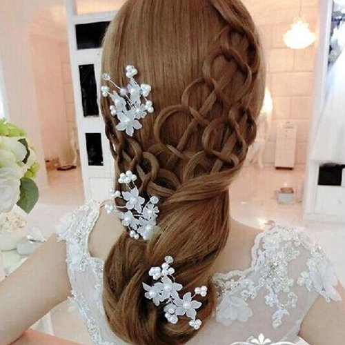 AmberRoze Flower Faux Pearl Wedding Hair Pin-1Pc