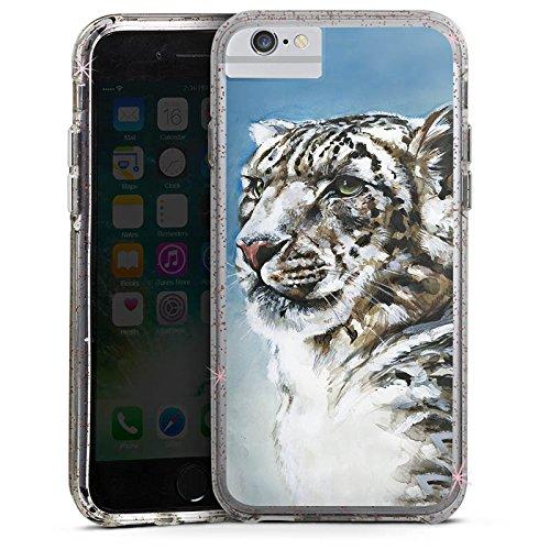 Apple iPhone 7 Plus Bumper Hülle Bumper Case Glitzer Hülle Schneeleopard Leopard Snow Bumper Case Glitzer rose gold