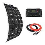 Giosolar Solar Panel 100W Flexible Solar Panel Kit Battery Charger Monocrystalline with 20A LCD Controller for Boats Caravans Off-Grid Systems