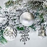Victor's Workshop 50tlg. Weihnachtskugeln Weiss Silber Weihnachtsbaumschmuck Plastik Weihnachtsschmuck für Weihnachten Deko Anhänger MEHRWEGVERPACKUNG - 4
