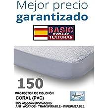 BASIC HOME Protector de Colchón CORALINA Impermeable y Transpirable 150X190/200+23