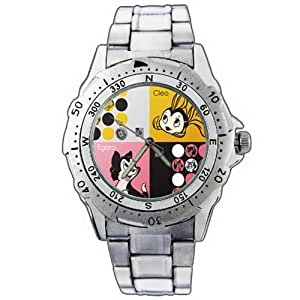 New Fashion WE322 Pinocchio Figaro Black Cat Cleo Golden Fish Stainless Steel Wrist Watch