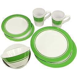 Fridani MDC vajilla de melamina Verde para 2 Personas, vajilla de Camping 2X Taza 4X Platos 2X tazón