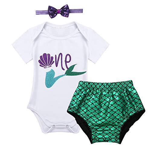 Hintern Baby Kostüm - iiniim Baby Mädchen Bekleidungsset Meerjungfrau Kostüm Cosplay Fasching Karneval kostüm Babybekleidung Gr.68-86 Weiß&Grün 80-86/12-18 Monate
