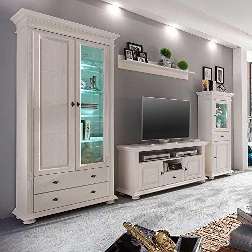 Wohnzimmer Wohnwand in Weiß Fichte Massivholz (4-teilig) Ohne Beleuchtung Pharao24