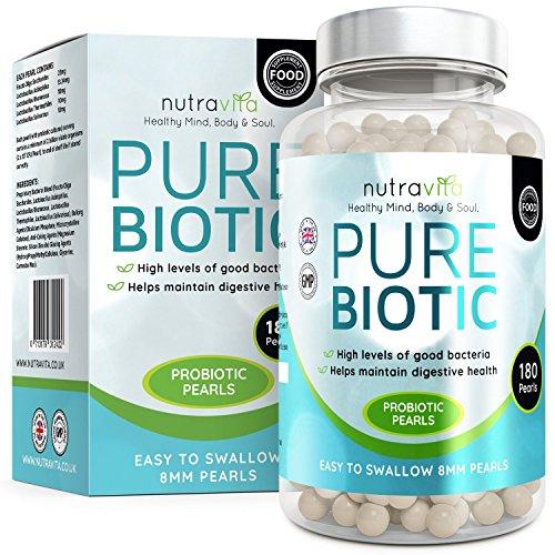 Nutravita Pure Biotic | Dreifache Stärke 2 Milliarden KBE |180 höchst dosierte Kulturen Komplex Perlen - effektiver als Kapselform