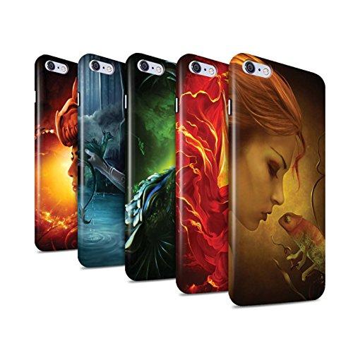 Officiel Elena Dudina Coque / Clipser Brillant Etui pour Apple iPhone 6+/Plus 5.5 / Fille Rouge Design / Dragon Reptile Collection Pack 5pcs
