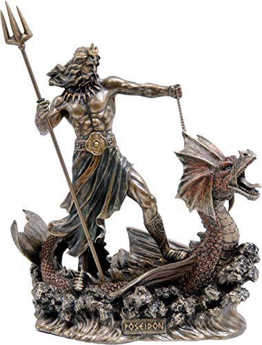 Ancient Greek God of The Sea Poseidon/Neptune on a Dragon (Decorative Bronze Statue/Sculpture 20cm / 7.87inches)