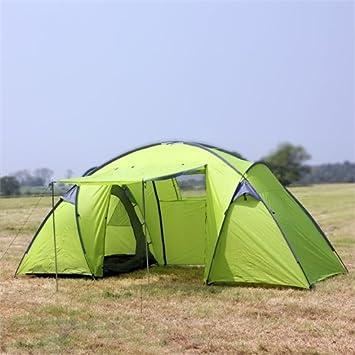 North Gear Camping Trekker Waterproof 6 Man 2 Room Tent Green ...