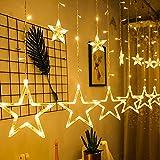 LED Lichtervorhang Lichterkette, mimoday 12 Sterne 138pcs LED Fenstervorhang Lichter Mit 8 Blinkenden Modi, Dekoration für Weihnachten, Hochzeit, Party, Haus, Terrasse Rasen, Warmweiß